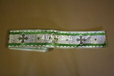 (One Yard) Religious Cross Gold & Green on White Banding Vestment Silk, 3''