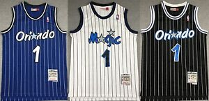 Penny Hardaway #1 Orlando Magic Classics Swingman Sewn BLUE BLACK Men's Jersey