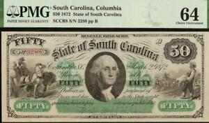 LARGE 1872 $50 DOLLAR BILL SOUTH CAROLINA NOTE CURRENCY PAPER MONEY PMG 64