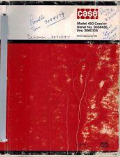Case Vintage 450 Crawler Parts Manual G1108 Ser No 3038436 Thru 3060306