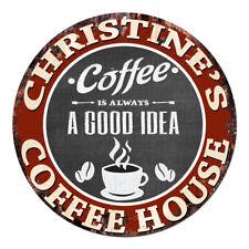 CPCH-0043 CHRISTINE'S COFFEE HOUSE Chic Tin Sign Decor Gift Ideas