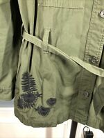 Who What Wear Sz Large, Green Army Military Jacket Embroidered Floral Shirt