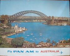 PAN AM AIRLINES AUSTRALIA SYDNEY BRIDGE Vintage 1965 Travel poster 34.5x44