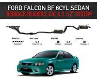"""Ford Falcon BF 6cyl Sedan - Redback Headers, High Flow Cat & 2 1/2"""" System"""
