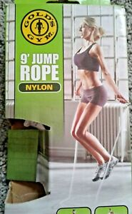 GOLDS GYM, 9' NYLON JUMP ROPE,GENTLY USED, VGUC WITH BOX, GREAT EXERCISE!