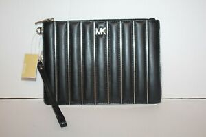Michael Kors Medium Zip Pouch Wristlet Clutch Black Leather Silver NEW!!!