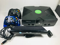 Original Xbox Video Game Console w/ Controlers and 360 kinect TURNS ON untested