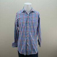 Peter Millar Blue Pink Green Long Sleeve Button Front Cotton Plaid Shirt Mens M