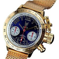 Konigswerk Mens Classic Chronograph Watch Gold Tone Mesh Bracelet Large Blue ...