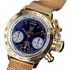 Konigswerk Mens Classic Chronograph Watch Gold Tone Mesh Bracelet Large Blue ...