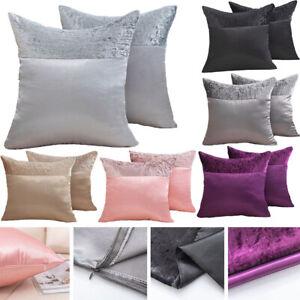 Luxury Crushed Velvet Band Cushion Covers Faux Silk 43X43 50X50 55X55 60X60 CM