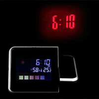 Projection Digital Calendar LCD Screen Snooze Alarm Clock Station LED