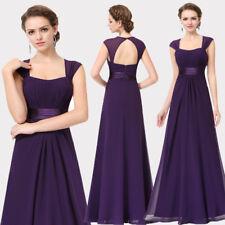 Ever-Pretty Long Purple Cap Sleeve Bridesmaid Wedding Dress Formal Evening 08834