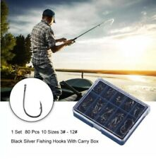 80Pcs Carbon Steel Fishing Hook with Hole Carp Fishing Tackle 10 pocket Box