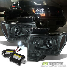Smoked 2009-2014 Ford F150 Halo Projector Led Headlights +8000K Slim Xenon HID