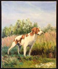 Epagneul Breton Chien de chasse peinture sur toile signée E Moretti animalier