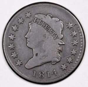 1814 Classic Head Large Cent -- Plain 4 -- Low Mintage 357,830 --