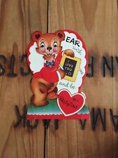 1951 Vintage Valentine Bear With Me Movable Head Mechanical 50s Used Card