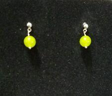 Beautiful Green Peridot Gemstone Dangle Earrings, with Silver Ball Stud Finding