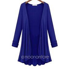 Lässig Damen Longshirt Strick Cardigan Cool Jacke Strickjacke Kleid Bluse Lang
