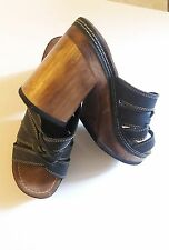 Vintage 80's CANDIES Heels Mules Original Sandals  Size 9 M LEATHER EUC