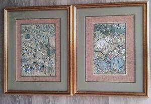 Antique Persian Tibetan Indian Mughal Goauche Paintings pair - Elephants