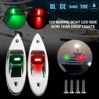 1 Pair 12V Red+Green Flush Mount RV LED Side Navigation Lights For Marine Boat