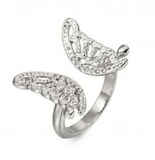 Sparkly Silver Crystal Butterfly Ring  - Size Q