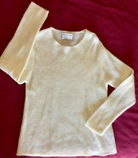 DKNY Sample Knit Cream Crewneck Sweater Top sz L