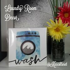 Wash Laundry Room Decor Vinyl Sign New