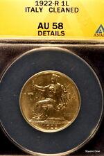 1922-R ANACS AU58 Details (Cleaned) Italy One Lire!! #E0819