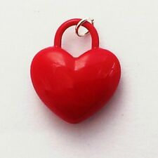 Puffy Red Heart Charm in 3D with silver plated jump ring