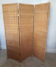 VINTAGE RATTAN WICKER BAMBOO 3 SCREEN ROOM DIVIDER 1970s BOHO GLAMOUR