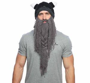 Wikinger Häkelmütze mit Hörnern langer Bart mit Zöpfen Helm Barbar Ski Mütze JGA