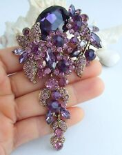 "4.13"" Teardrop Flower Brooch Pin Purple Rhinestone Crystal Pendant 06524C3"