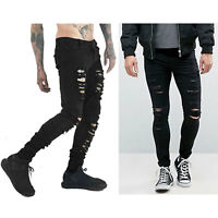 Trendy Mens Black Stretch Skinny Ripped Jeans Chic Distressed Frayed Denim Pants
