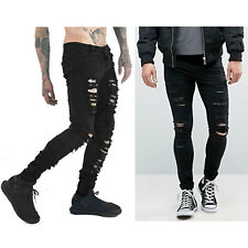 Just No Logo Men's SKINNY Hipster Ripped Gothic Jeans 32w Black Mens Pants