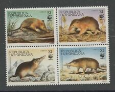 WWF Solenodon Paradoxus block of 4 mnh stamps 1994 Dominican Republic #1158