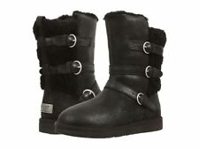 UGG BLACK BECKET LEATHER/ SHEEPSKIN WARM WINTER BUCKLE BOOTS, US 6/ EUR 37 ~NEW