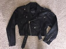 Womens Vintage Wilsons Black Leather Cropped Motorcycle Jacket Size M Biker EUC