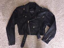 Womens Vintage Wilsons Black Leather Cropped Motorcycle Jacket Size M Biker EUC