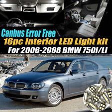 16Pc Error Free Car Interior LED White Light Kit for 2006-2008 BMW 750i Li
