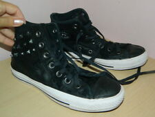 black suede studded Converse high top lace up trainers uk 4 eur 36.5
