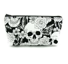 Black Flower Rose Skull Cosmetic Bag, Zip Pouch, Makeup Bag, Pencil Case