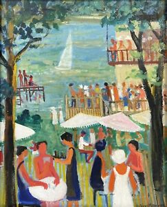 HUGUETTE GINET-LASNIER (1927-2020) FRENCH MODERNIST PAINTING - CROWDED RIVER BAR