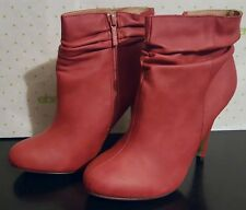 NEW DEEP RED MICHAEL ANTONIO SLOUCH COLLAR STELLITTO ZIP ANKLE BOOTIE BOOTS 7.5M