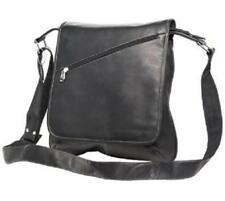 Luggage Choice Colombian Leather Slim Medium Messenger Bag - Black