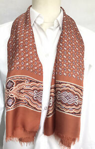 Mens Vintage SILK Scarf Patterned Retro Cravat Necktie 60's 70's ITALY