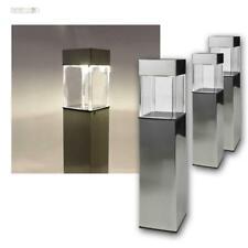 3 X LED Solar Lamp Light Garden Lighting Stainless Steel Pillar