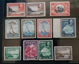 BERMUDA 1936 KG V 1/2d to 1s6d SG 98 - 106 112 Sc 105 - 114 pictorial set 11 MNH